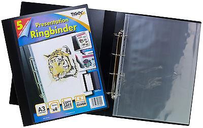 A3 Deluxe Black 4-D Ring Binder Folder File Art Portrait Presentation+ 5 Sleeves