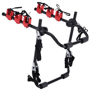 HOMCOM Foldable 3 Bike Carrier Car Back Mount Bicycle Rack Trunk SUV Universal