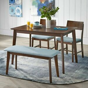 Details about Mid-Century Dining Set Modern Kitchen Table Blue Fabric  Chairs Bench Retro Mod