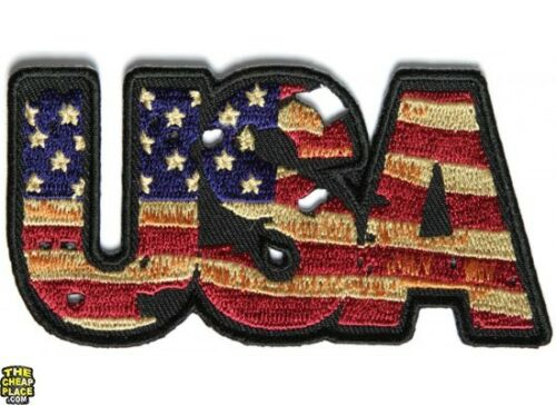 USA Vintage Flag and Stars Iron On Patch 4 x 2 inch Free Shipping P3564