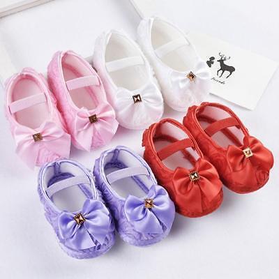 Newborn Toddler Kid Baby Girls Bowknot Crib Sneakers Soft Sole Prewalking Shoes