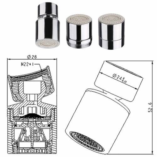360-Degree Dual-function 2-Flow Water Faucet Bubbler Kitchen Sink Aerator Swivel