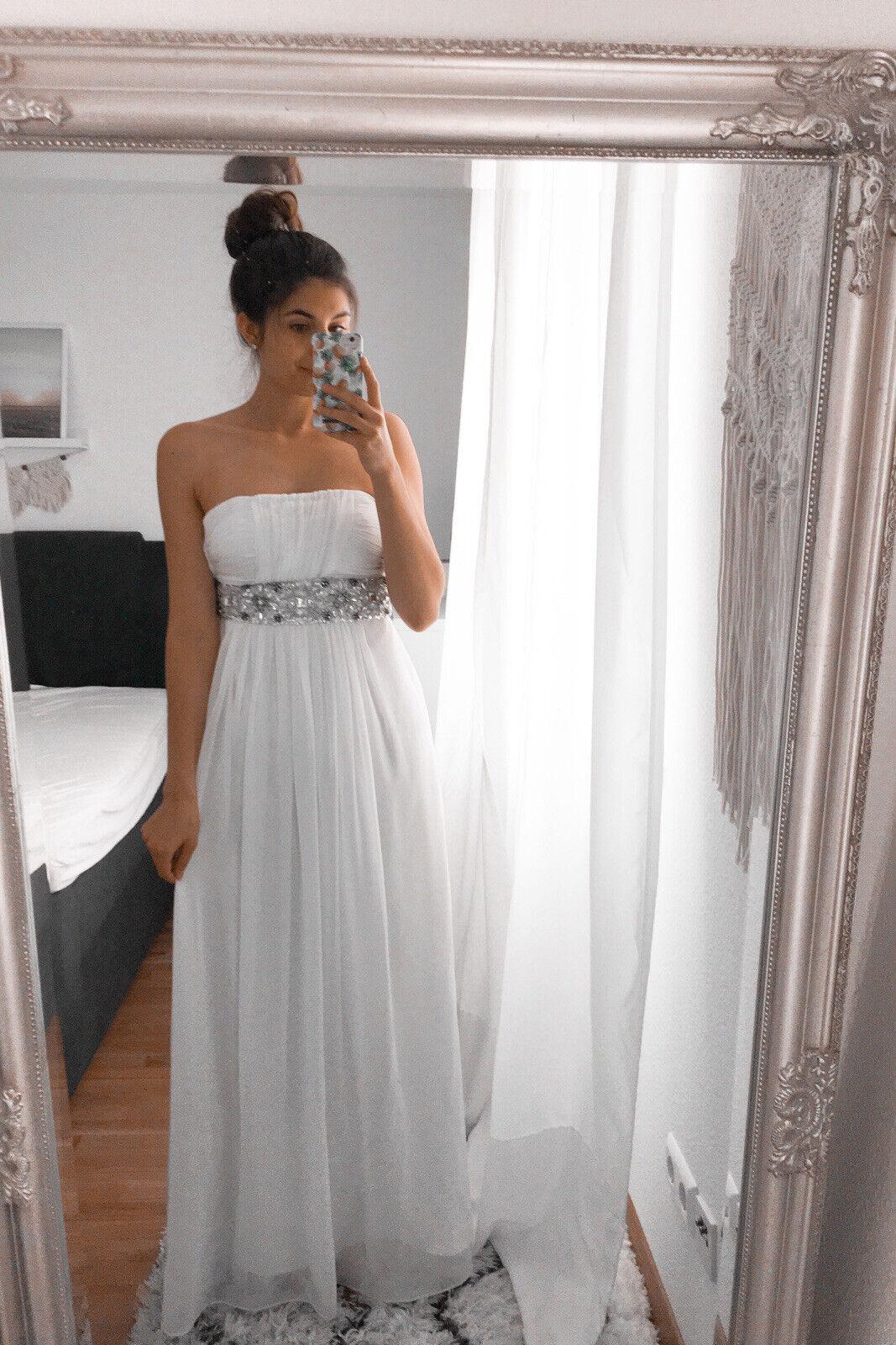 Hochzeitskleid Standesamt Brautkleid Weiß Perlen Chiffon 34 36