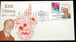 Walt Disney 1968 USPS 6c Stamp 1998 Disneyland Station 75th Anniversary Envelope