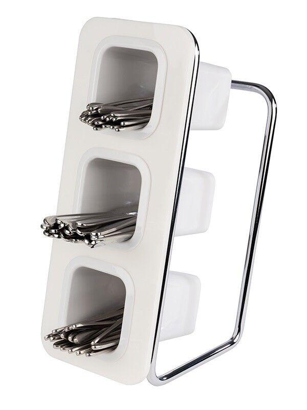 Couverts Support, couverts Récipient, triple, acrylique Mélamine Métal, 18x26x43 cm, Blanc