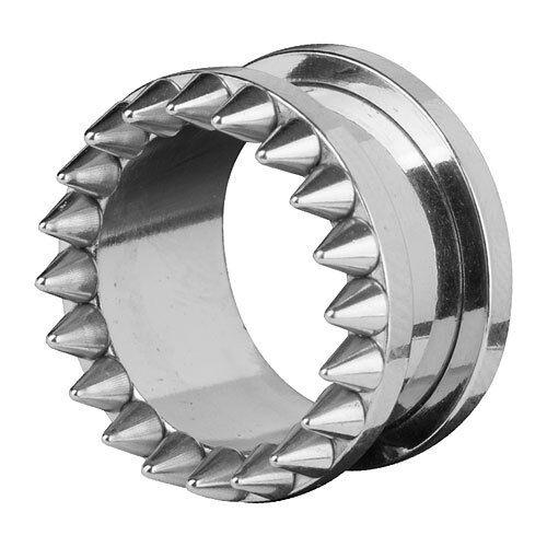 Bollos atornilla oreja túnel Plug piercing plata con puntas de frente contra espina Spikes