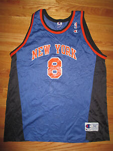 d1dc6d2e7 Champion LATRELL SPREWELL No. 8 NEW YORK KNICKS (Size 52) Jersey