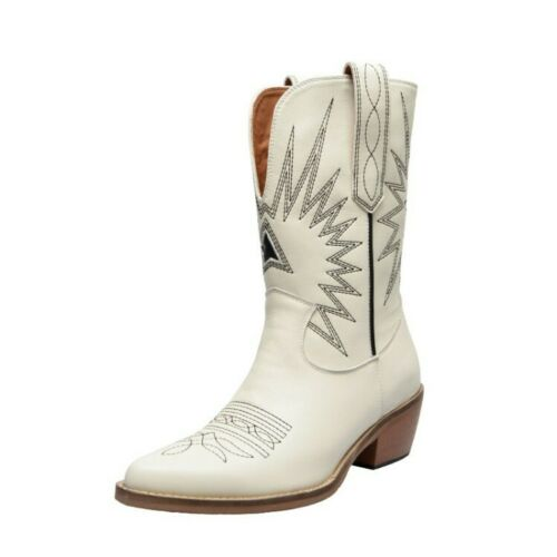 Womens Fashion Leather Embroidered Block Heel Western Cowboy Boots Shoes IISM