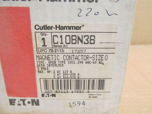 NIB CUTLER HAMMER C10BN3B MOTOR STARTER CONTACTOR SIZE 0 18 A 3P 5 HP 240 V COIL