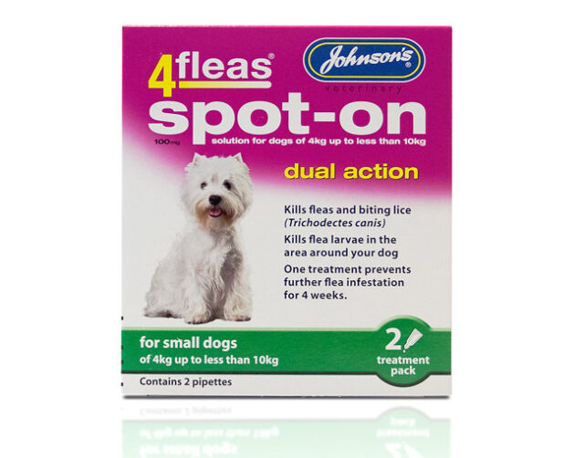 Johnson's 4Fleas Spot On solution for Small Dogs (4kg & less 10kg) - Dual Action
