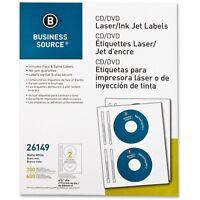 Business Source Cd/dvd Labels Laser/inkjet 300/pk White 26149 on sale