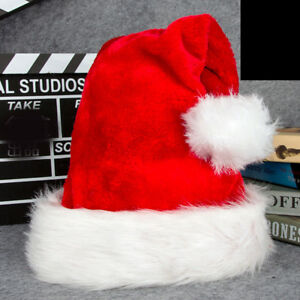 d1e9a4189ccdc Luxury Adults Christmas Plush Pom Santa Claus Hat Fur Covered Cap ...