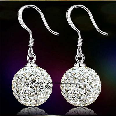 925 Sterling silver AAA Austrian crystals ball Earrings Fashion jewelry