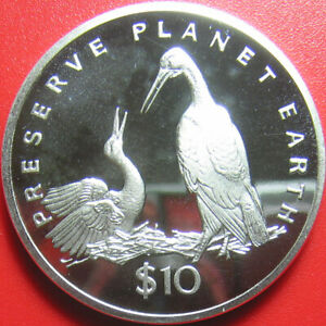 1995-LIBERIA-10-PROOF-1oz-SILVER-STORKS-STORK-PRESERVE-PLANET-EARTH-RARE-COIN