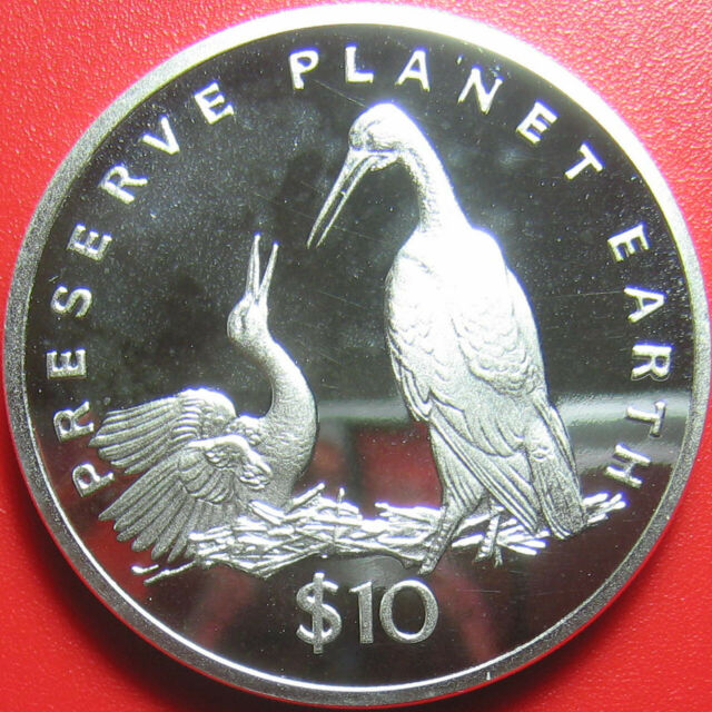 1995 LIBERIA $10 PROOF 1oz SILVER STORKS STORK PRESERVE PLANET EARTH RARE COIN!