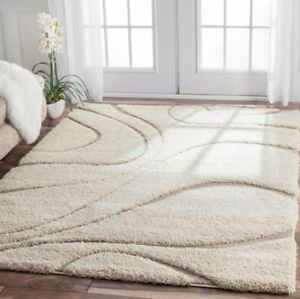 Ivory Off White Cream Beige Shag Area Rug Rugs 4 X 6 8