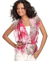 Grass - Layered Look Blouse With Filmy Animal Print Overlay Size Large Msrp $49