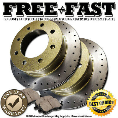 Fit Chevrolet Silverado 2500 Front Rear Gold Drilled Brake Rotors+Ceramic Pads
