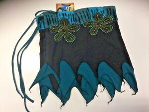 New Blue & Black Pixie BoHo Hippie Festival Stretch Cotton Skirt M/L