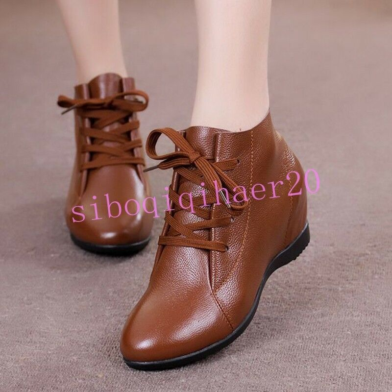 Retro Womens Leather Lace Up Shoes Ankle Boots Hidden Heel Plus size US4.5-10.5
