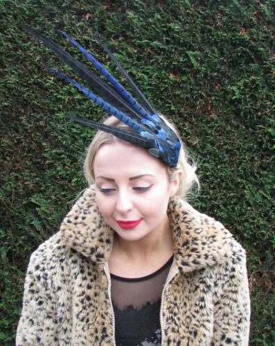 Navy Blue Black Pheasant Feather Statement Fascinator Races Vtg Headpiece 1592