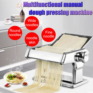 Pasta-Noodle-Maker-Machine-Cutter-Manual-Roller-Fresh-Spaghetti-Stainless-Steel