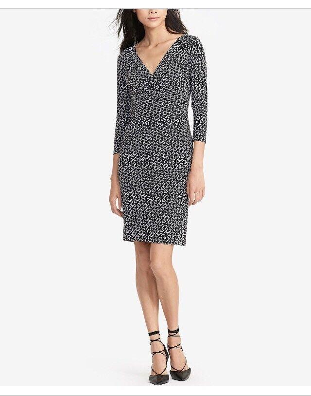 LAUREN Ralph Lauren  Printed  Surplice Jersey Dress Size 14