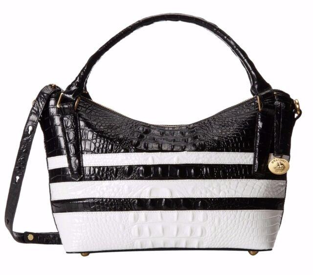 9495ca8dd Brahmin SM Norah Black White Corsica Melbourne Leather Croco Handbag ...