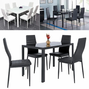 Details About Dining Table And Chairs 4 6 Soft Seater Set Leather Padded Tempered Gl Top Uk