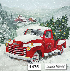 Christmas Red Truck.Details About 1475 Two Individual Paper Luncheon Decoupage Napkin Christmas Red Truck Tree