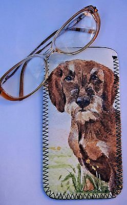 DACHSHUND SHORT HAIRED DOG HANDBAG COMPACT MIRROR WATERCOLOUR PRINT SANDRA COEN