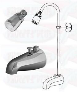 Chrome Bathtub Diverter Spout Add A Shower Kit With Shower Riser