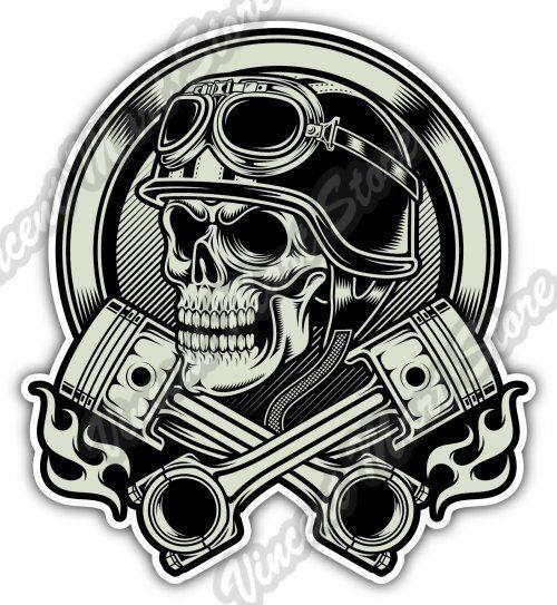 vintage biker skull helmet chopper gift car bumper vinyl sticker