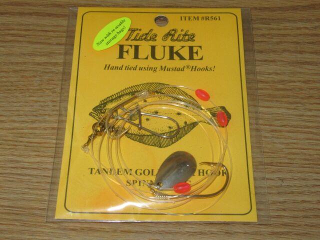 4 FLUKE RIGS FLATFISH TIDE RITE R576WS FLOUNDER SALTWATER RIG FISHING MUSTAD
