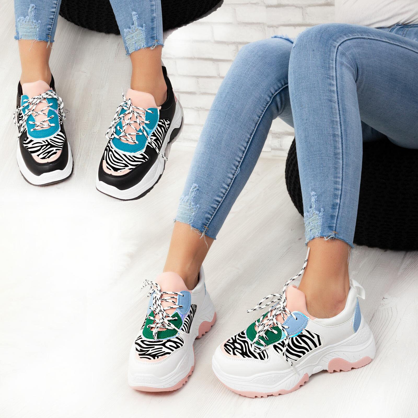 Woman Sneakers sport shoes zebra flatform platform sport TOOCOOL BO-91