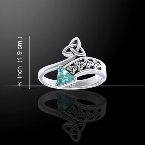 Triquetra Celtic Knot blue Topaz Sterling Silver Ring Peter Stone fine Jewelry