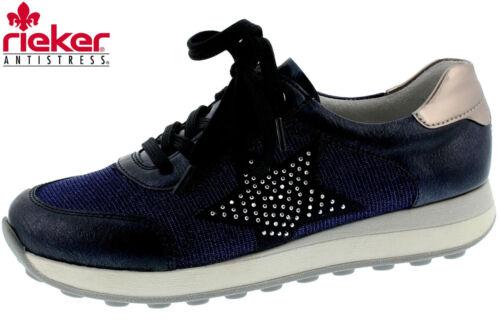 Rieker Damen Sneaker Blau Metallic Sommer Schuhe Teens K2802-14 NEU ab Gr 34