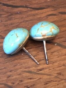 1950s-Earrings-Vintage-Retro-Mid-Century-Spider-Webb-Turquoise-on-Silver