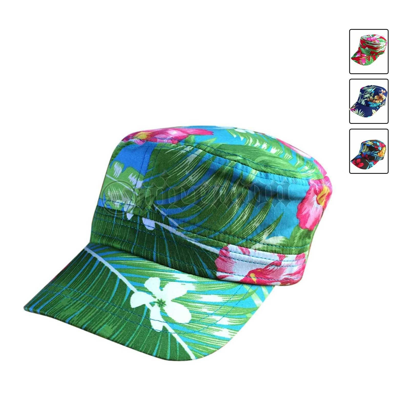 Blumenmuster Kadett Kappe Militär Stil Hut Armee Jamaica Hawaii Fiji1sz Passform