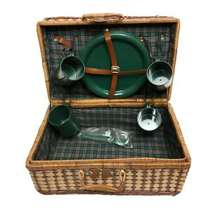 Vintage Picnic Set Suitcase Style Basket 4 Plates 4 Cups Weaved Brown