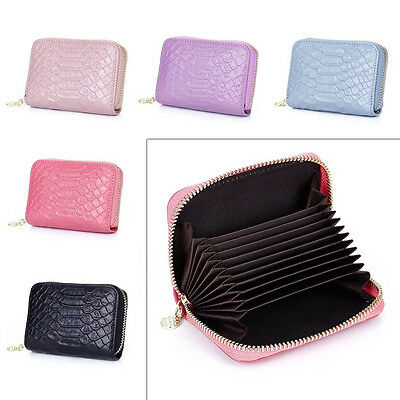Women Men Genuine Leather Wallet Coin Purse Business ID Card Holder Clutch #JP