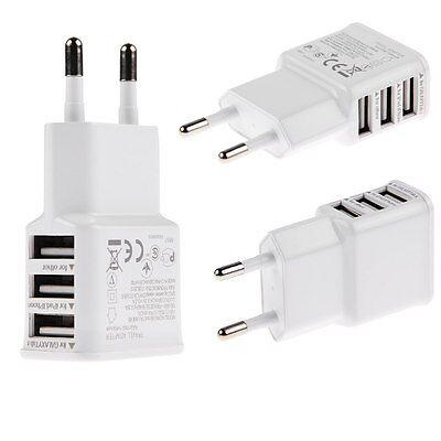 2.1A 3 USB Port Ladegerät Netzteil Adapter für iPad iPhone Samsung Galaxy/ Tab