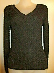 bebe-M-Sweater-Top-Knit-Black-Silver-Metallic-Textured-Long-Sleeve-Shiny-CHIC