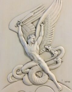 NEW-PRICING-Art-Deco-Framed-Canvas-Print-Michael-the-Archangel-vs-Satan