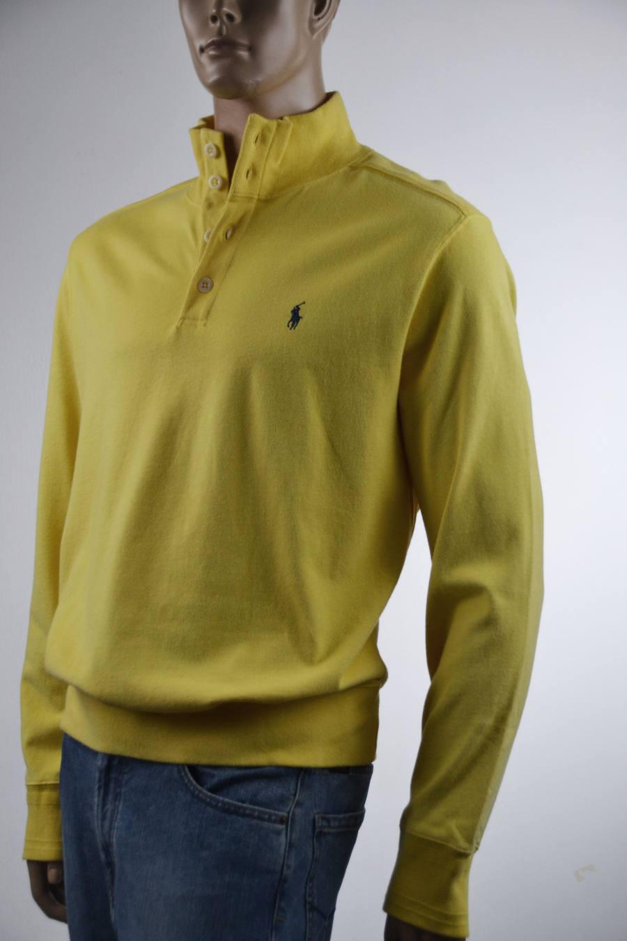 Ralph Lauren Gelb Half-Buttoned Cotton Sweater Sweatshirt  Pony -Xlarge-NWT