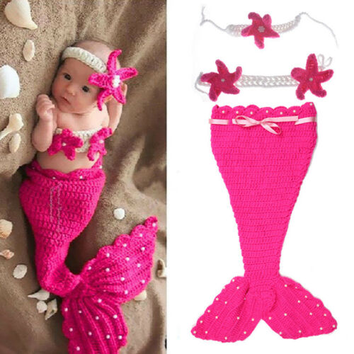 Cute Newborn Baby Crochet Knit Mermaid Costume Outfit Photo Photography Prop New