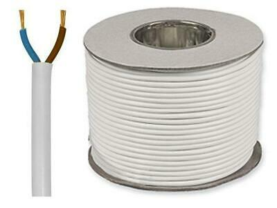 0.50mm Round 2 Core White PVC Flex Flexible Cable Electric Wiring 2182Y