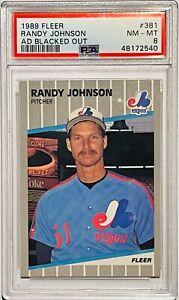 RANDY JOHNSON ROOKIE 1989 FLEER CARD #381 PSA GRADED MINT 8 MONTREAL EXPOS RC