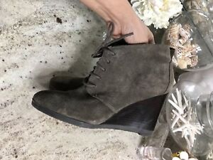20bd5060cea69 Genuine Suede   Leather Franco Sarto Lace-up Ankle Bootie Gray Wedge ...