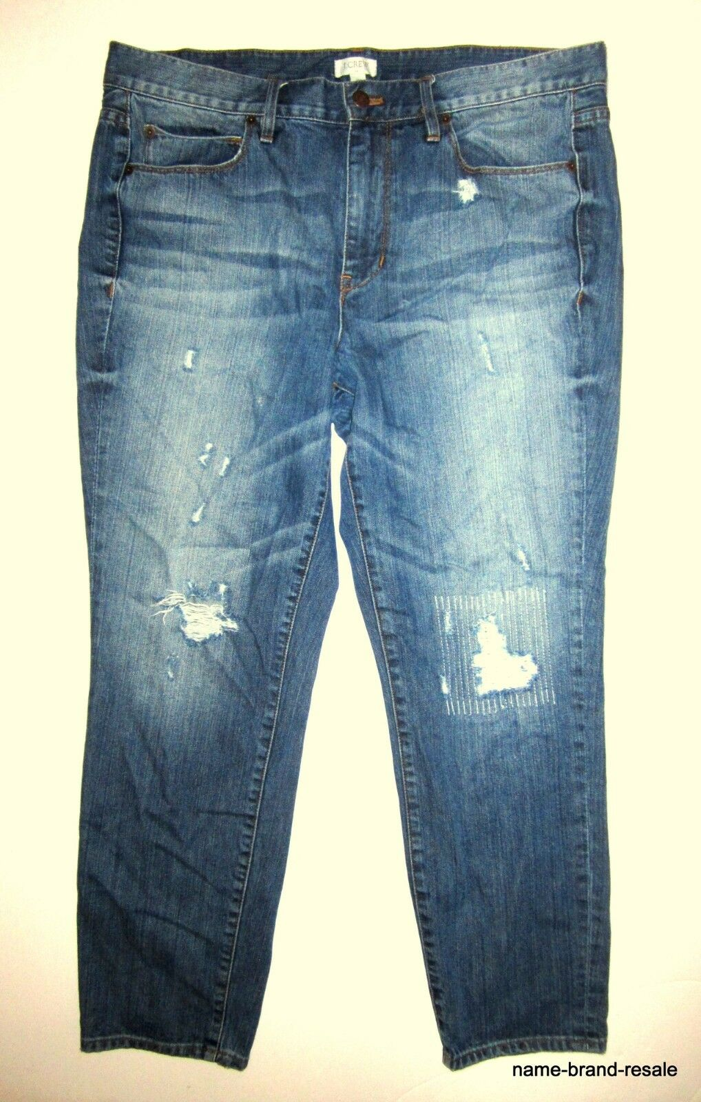 J.CREW Boyfriend Ripped Jeans Womens 31 Rip Repair Stitched Denim Loose Relaxed